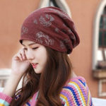 New Women Vintage Polyester Double Layers Beanie Cap