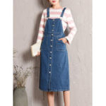 New L-5XL Denim Adjustable Straps Button Dress with Pockets