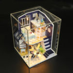 New Hoomeda M041 DIY Doll House Shining Star With Cover Miniature Furnish Music Light Gift Decor Toys