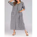 New Women V-neck Long Sleeve Plaid Patchwork Pockets Dress