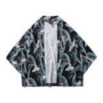 New Mens Fashion Crane Printing Thin Loose Casual Coats