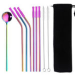 New Reusable Stainless Steel Straight Bent Drinking Straws Set