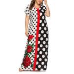 New Women Polka Dot Patchwork Short Sleeve Floral Long Dress