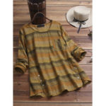New Vintage Side Buttons Irregular Hem Striped Blouse