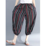 New Women Stripe Elastic Waist Pockets Baggy Pants