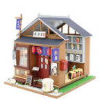New Hoomeda M037 DIY Doll House One Of The IZAKAYA With Cover Music Movement Gift Decor Toys