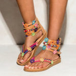 New US Size5-12 Bohemian Zipper Flat Bottomed Flowers Sandals