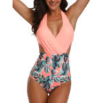 New One-Piece Halter Print Lace-Up Back Slim Ladies Swimwear