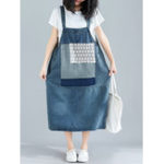 New Women Casual Lace Patchwork Straps Denim Dress with Pockets