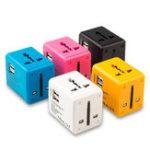 New 1A Universal Conversion Plug Travel Conversion Socket Dual USB Converter Plug Charger EU /AU /US /UK Plug Socket Connector