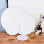 "New 6/8/12/16"" Blank White Round Artist Canvas Wooden Drawing Board Acrylic Oil Paintings"