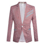New Mens Fashion Slim Stripe Suit Jacket Blazers