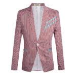 New Mens Fashion Slim Stripe Suit Jacket Blazers