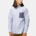 New Men Unique Single Pocket Solid Color Cotton Shirts