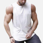 New Men Stitching Back Solid Color Gym Sleeveless Tank Tops