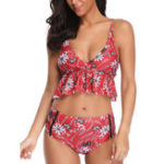 New Ladies Split Mid Waist Strap Tight Bikini Suit