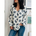 New Plus Size Printed V-neck Puff Sleeve Women Loose Blouse