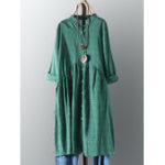 New Vintage Cotton Button Pleated Shirt Plaid Dress