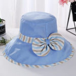 New Women Cotton Stripe Wide Brimmed Bucket Hat