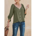 New Women Solid Color Button Down 3/4 Sleeve Blouse
