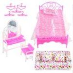 New DIY Plastic Doll House Kids Development Toys Furniture Living Room Sofa Bed Dressing Table Hanger Set