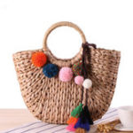 New Straw Hairball Tassel Summer Beach Bag Handbag For Women
