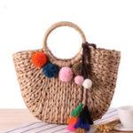 New Straw Hairball Tassel Summer Beach Bag Handbag For Women