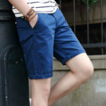 New Men Multi Pockets Solid Color Skinny Fit Shorts
