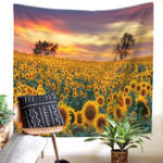 New Sunflower Painting Tapestry Wall Hanging Flower Patterned Beach Towel Bedroom Home Decorations