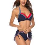 New Blue Polka Dot Split Skirt Navy Summer Bikini