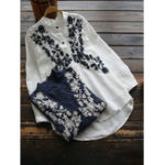 New Floral Embroidery High Low Hem Blouse