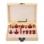 New 15pcs 1/4 Inch Shank Cemented Carbide Router Bit Set Metric Woodworking Milling Cutter With Wooden Case