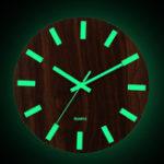 New Wooden Wall Clock Glow In The Dark Silent Quartz Indoor Living Room Luminous