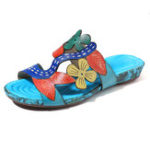 New SOCOFY Handmade Pattern Slip On Casual Leather Sandals