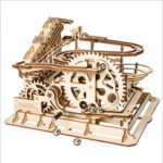 New 3D Self-Assembly Wooden Marble Run Handcrank Waterwheel Magic Crash Puzzle Building Kits Mechanical Model Gift