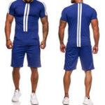 New Mens Short Sleeve Casual Sport Suit Athleisure Sportswear