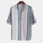 New Mens Vintage Ethnic Style Printed Half Sleeve Loose T Shirts