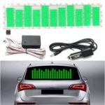 New Car Music Rhythm LED Flash Light Sound Activated Equalizer Car Sticker Green 45x11cm