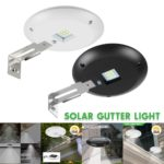 New Solar Powered LED Round Gutter Sink light Waterproof Durable Outdoor Fence Lamp