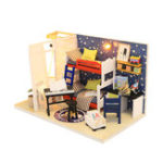 New Hoomeda S901 DIY Doll House Future Space Miniature Furnish With Cover 18CM