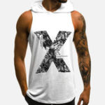 New Men X Printed Sleeveless Hooded Tank Tops