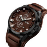 New SKMEI 9165 Business Style Leather Strap Men Quartz Watch