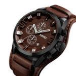 New SKMEI 9165 Business Style Leather Strap Men Quartz Watch