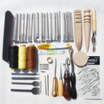New 59Pcs DIY Leather Tools Kit Hand Stitching Sewing Punch Carving Stamp Craft Set