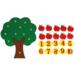 New Apple Tree Match Digital Math Teaching Toys Montessori Educational Non-woven Kids