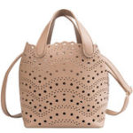 New 2 PCS Women Hollow Out PU Leather Bucket Bag
