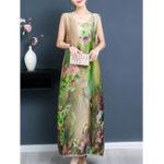New Sleeveless Silk Floral Dress