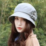 New Women Polyester Floral Breathable UV Protection Bucket Cap