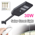 New 30W LED Solar Light Outdoor Street Wall Lamp Garden Light With Remote Contronl