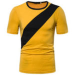 New Mens Patchwork Crew Neck Short Sleeve Casual T-shirts